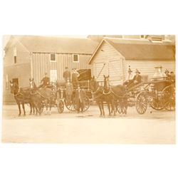 Horse Drawn Fire Wagon Photo Postcard
