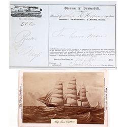 Steamer Commodore Vanderbilt Receipt