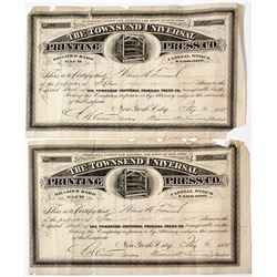 Townsend Universal Printing Press Co. Stocks (2)