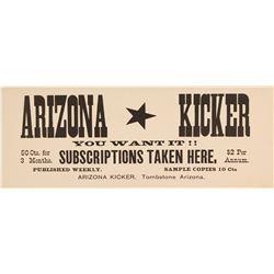 Tombstone, Arizona Newspaper Advertising Card