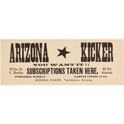 Tombstone, Arizona Newspaper Advertising Card