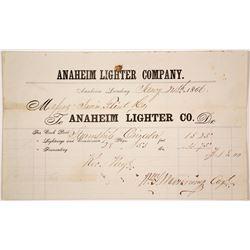 Rare Billhead for the Anaheim Lighter Co., Anaheim Landing, 1866