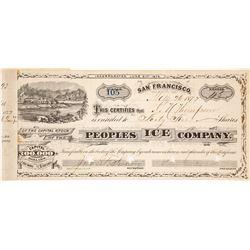 Peoples Ice Company Stock Certificate, Boca, CA 1877