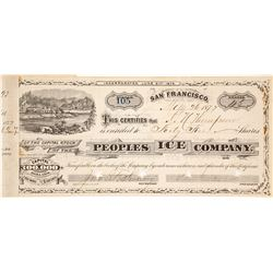 Peoples Ice Company Stock Certificate, Boca, CA 1877