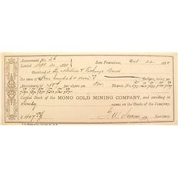 Mono Gold Mining Co. Receipt