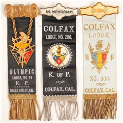 Colfax & Grass Valley Knights of Pythias Medals and Ribbons