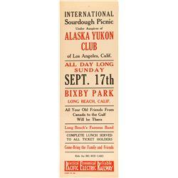 Alaska Yukon Club Broadside for International Sourdough Picnic