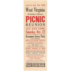 West Virginia Picnic Reunion Broadside