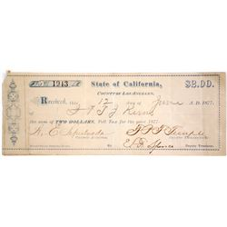 Los Angeles, California State Poll Tax Receipt 1877