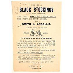 California Black Stocking Handbill