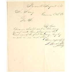 Placerville Chinese Labor Letter for Cosumnes Copper Mining Co.