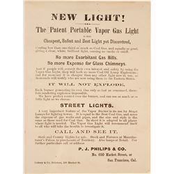 c.1870s SF Advertisement for Vapor Gas Lights