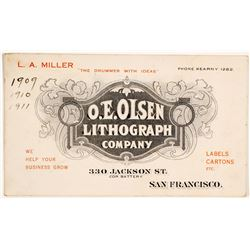 O.E. Olsen Lithograph Co. Business Card, San Francisco