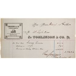 Tomlinson & Co. Forwarding & Commission Merchants Billhead, San Pedro, 1865