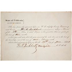 1853 Siskiyou County Liquor License Possibly for a Man Massacred by Indians