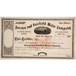Suisun & Fairfield Water Company Stock Certificate