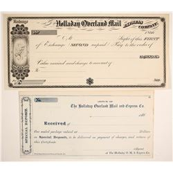 Holladay Overland Mail & Express Company Exchange & Receipt