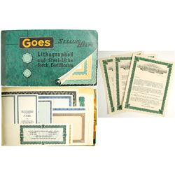 Very Rare Goes Lithographing Stock Certificate Catalog with Letters