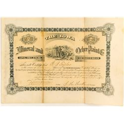 Iowa Mineral and Ochre Paint Co. Stock Certificate