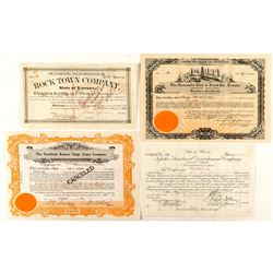 Group of Kansas Stock Certificates (4) 1886-1935