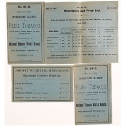 1892 Price Lists for Plug Tobacco