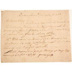 Revolutionary War Era, Patapsco River, Instructions for Payment