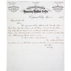Letter from Banking House of Hussey, Dahler & Co.