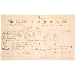 Receipt from Virginia City & Alder Express Line