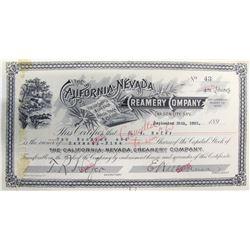 California-Nevada Creamery Company Stock Certificate