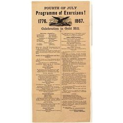 Gold Hill Broadside for 1867 4th of July Excercises