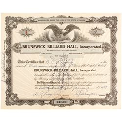 Brunswick Billiard Hall Stock Certificate #1