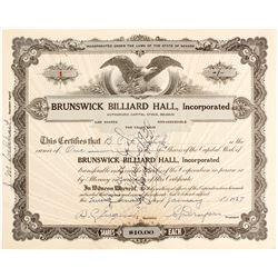 Brunswick Billiard Hall Stock Certificate #1