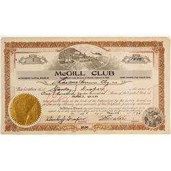 McGill Club Stock Certificate, #1