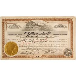 McGill Club Stock Certificate, #1