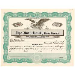 Ruth Bank, NV Rare Stock Certificate