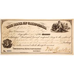 Bank of California 3rd of Exchange Signed by W.C. Ralston, 1871