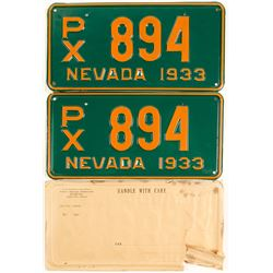 1933 Nevada Matched License Plates-Mint!