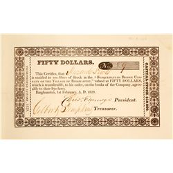 Susquehannah Bridge Co. Stock Certificate, 1829 (Toll Bridge)