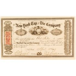 New York Tap and Die Company Stock Certificate