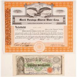 Morck Saratoga Mineral Water Stock Certificate