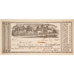 R.P. Dorlon & Co. Express Stage Receipt, Pictorial, 1852