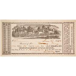 R.P. Dorlon & Co. Express Stage Receipt, Pictorial, 1852