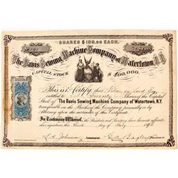 Davis Sewing Machine Company of Watertown, N. Y. Stock Certificate