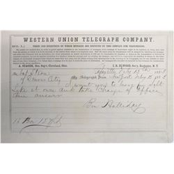1863 Western Union Telegram sent by Ben Holladay