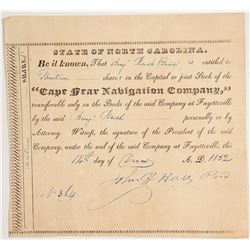 Cape Fear Navigation Company Stock Certificate, 1852