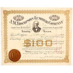 J.M. Thompson Lumber Company Stock Certificate