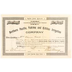 Northern Pacific, Yakima and Kittitas Irrigation Co. Stock Certificate