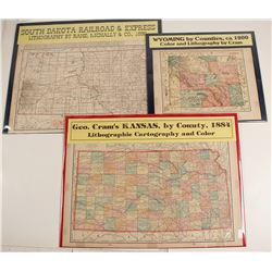 Maps of Western States, Wyoming, Kansas, South Dakota