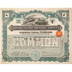British Columbia Breweries Limited Stock Certificate