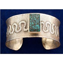 Tufa Cast Turquoise Sterling Bracelet